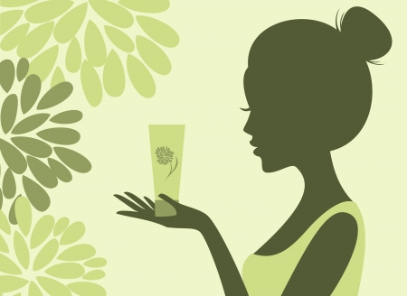 moisturize: Illustration of a young woman holding a bottle of lotion  Choose natural cosmetcs concept