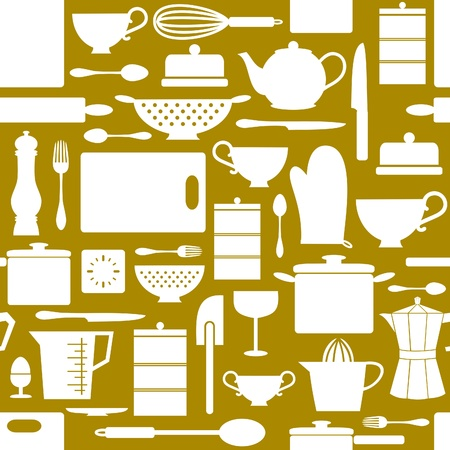 colander: Seamless pattern with kitchen items in retro style