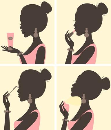 Illustration einer jungen schönen Frau und ihre Schönheit Routine