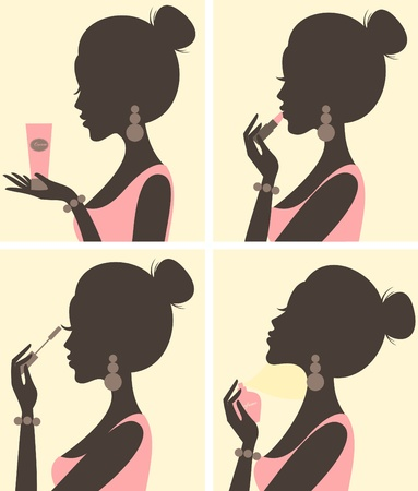 make up applying: Illustration of a young beautiful woman and her beauty routine  Illustration