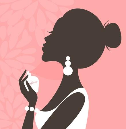 귀걸이: 그녀의 목에 향수를 적용하는 젊은 아름 다운 여자의 그림