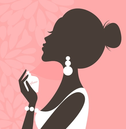 Illustration of a young beautiful woman applying perfume on her neck