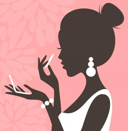 polvos: Ilustraci�n de una mujer joven y hermosa aplicaci�n de polvo compacto en su cara