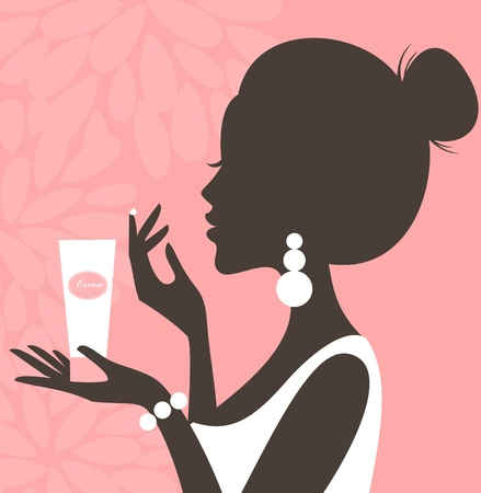 make up applying: Illustration of a young beautiful woman applying cream on her face  Illustration