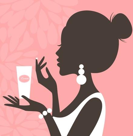 Ilustración de una mujer joven y bella de aplicar la crema en la cara