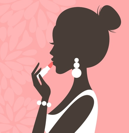 make up applying: Illustration of a young beautiful woman applying lipstick