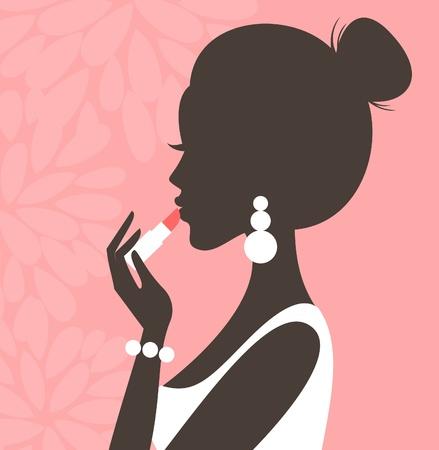 Illustrazione di una giovane donna bella applicare il rossetto Vettoriali