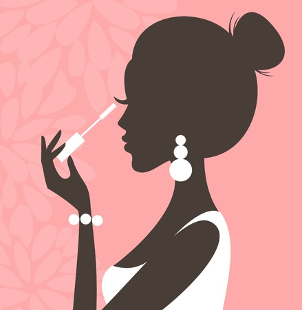 feminine background: Illustration of a young beautiful woman applying mascara on her lashes