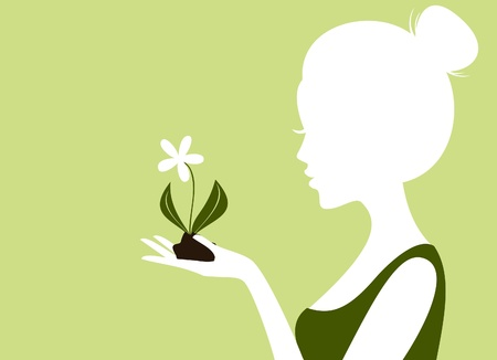 Illustration of a young woman holding soil and a flower in her hand  Vector