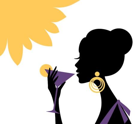 Illustration d'une belle jeune femme buvant un cocktail rafraîchissant sur une chaude journée d'été