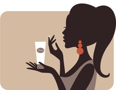 серьги: Иллюстрация молодой красивой женщины, применение крема на лице