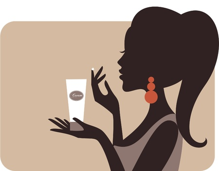 Illustration of a young beautiful woman applying cream on her face  Ilustração