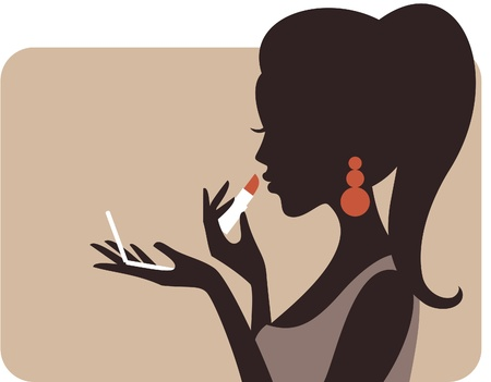 Illustration of a young beautiful woman applying lipstick  n n