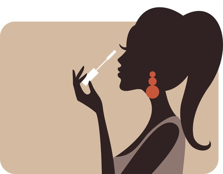 Illustration of a young beautiful woman applying mascara on her lashes