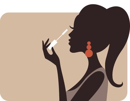 Ilustración de una mujer joven y hermosa de aplicar el rimel en sus pestañas