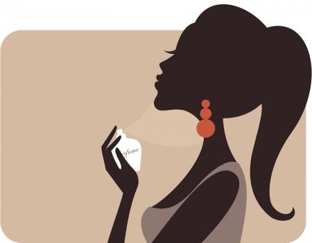 fragranza: Illustrazione di una giovane donna bella applicazione di profumo sul collo