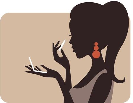 Illustration d'une belle jeune femme appliquant une poudre compacte sur son visage