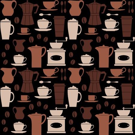 macinino caffè: Seamless pattern ripetitivo con gli elementi correlati al caff�