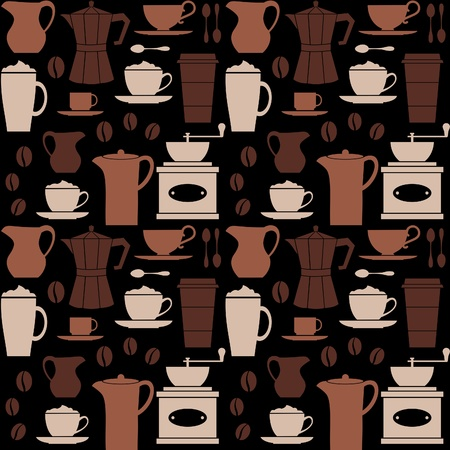 Seamless repetitive pattern with coffee related items  Vector