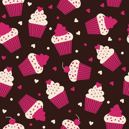 Seamless pattern with cupcakes in white and pink against black background  Vector