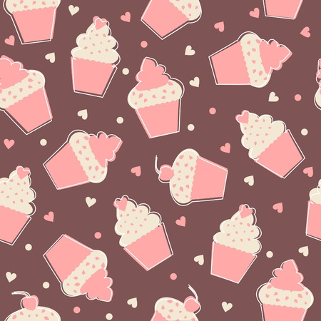 Seamless pattern with cupcakes in pastel colors  Vector