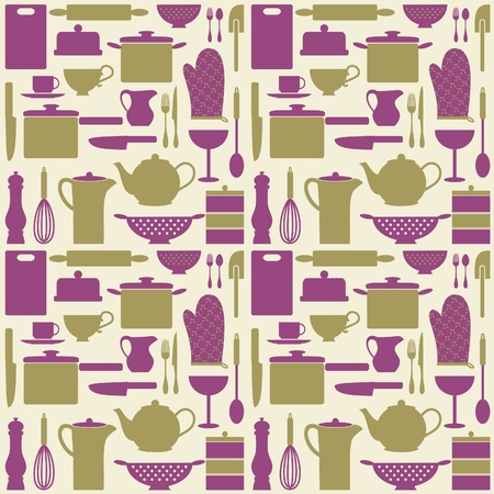 items: Seamless repetitive pattern with kitchen items in retro style  Illustration