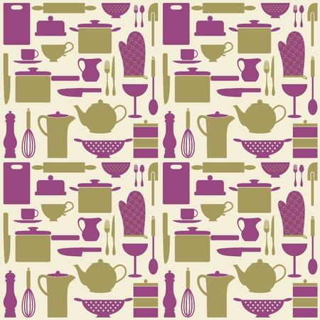 utencilios de cocina: Sin fisuras patrón repetitivo con artículos de cocina en estilo retro