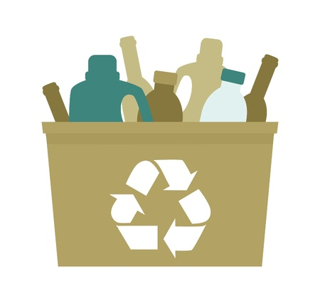 waste disposal: Illustration of a green plastic bin with empty bottles in it