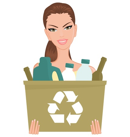 recycle bin: Illustration of a girl holding a recycle bin with empty bottles in it