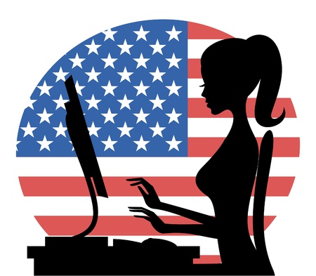 Illustration of a young woman working on computer with the American flag in the background. Vector