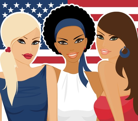 national women of color day: Illustration of three beautiful young women with the american flag in the background. Illustration