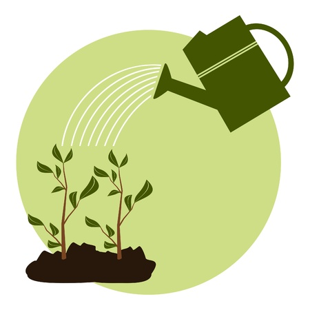 cultivating: Illustration of two young green plants been watered.