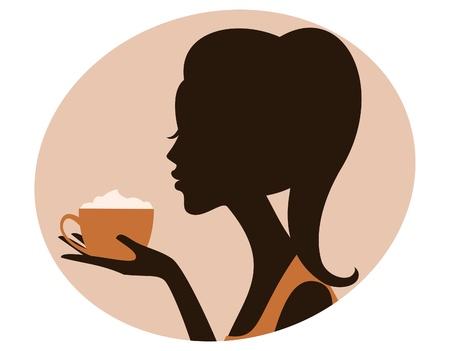 맛있는 카푸치노 한 잔을 들고 아름 다운 여자의 그림입니다.