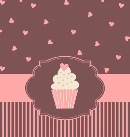 パステル ピンクと茶色の色でかわいいカップケーキのイラスト。