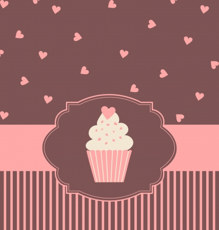 bake: Illustration of a cute cupcake in pastel pink and brown colors. Illustration
