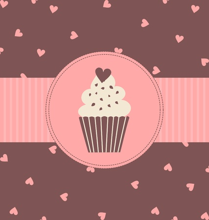 frosting: Illustration of a cute cupcake in pastel pink and brown colors. Illustration