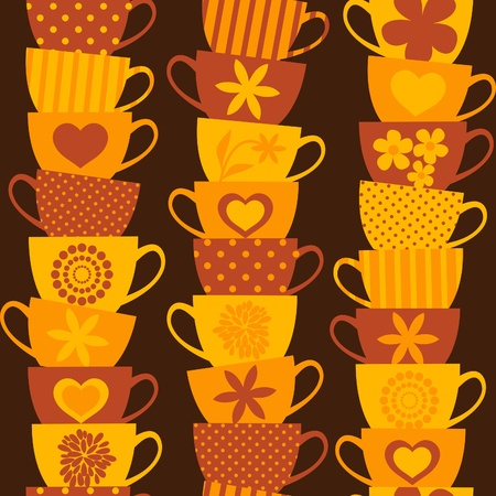 vintage dishware: Seamless pattern with piles of stacked colorful cups.