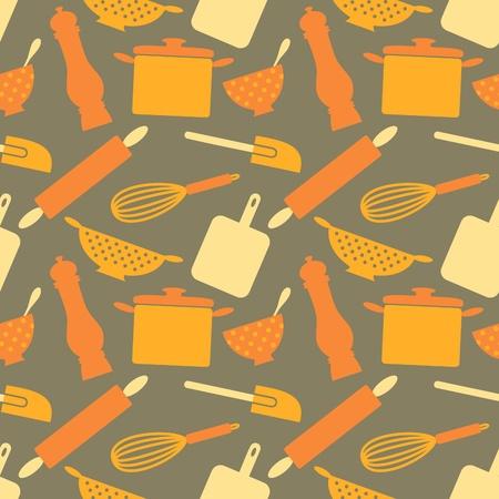 r�p�titif: Seamless motif r�p�titif avec des articles de cuisine dans le style r�tro. Illustration