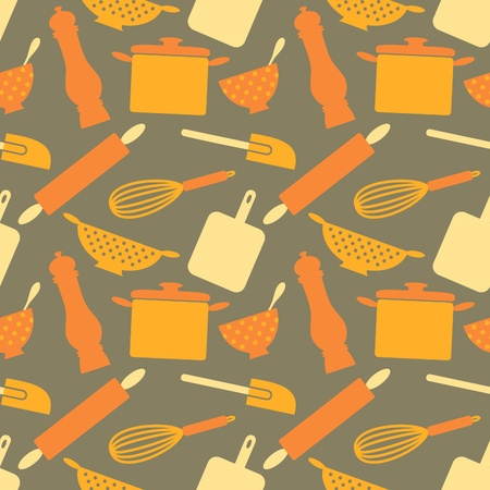 retro kitchen: Seamless repetitive pattern with kitchen items in retro style.