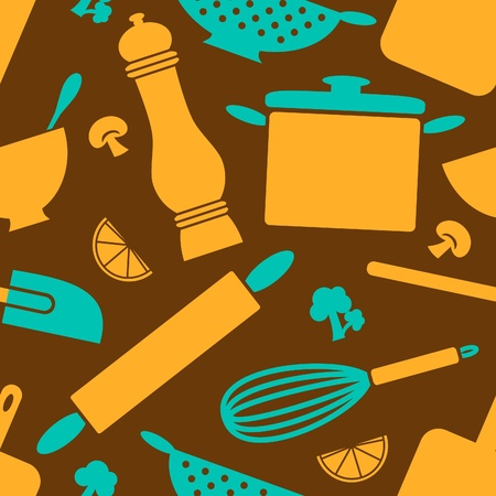 Seamless pattern with kitchen items in retro style. Vector