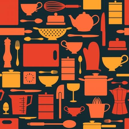 utencilios de cocina: Patrón sin fisuras con los utensilios de cocina en estilo retro. Vectores