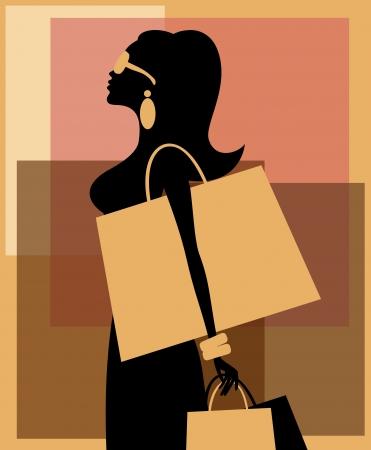 Ilustración de una mujer hermosa joven con bolsas de la compra contra el fondo abstracto. 10 EPS archivo.