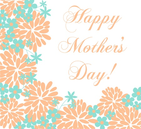 Mothers Day greeting card template with floral decoration. Vector