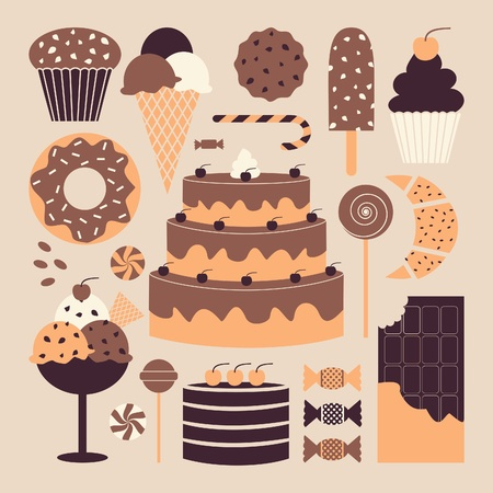 A set of retro dessert icons in pastel colors.