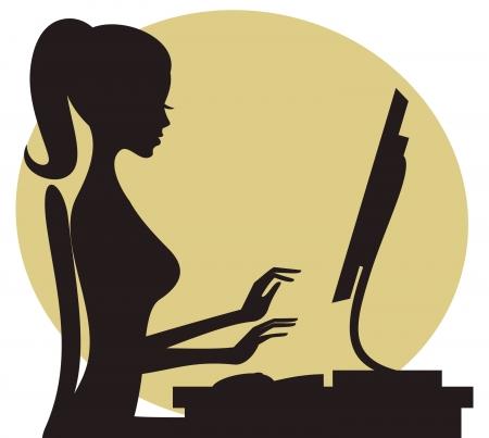Illustration d'une jeune femme travaillant sur ordinateur. Vecteurs