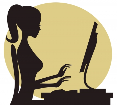 Illustration of a young woman working on computer. Vector