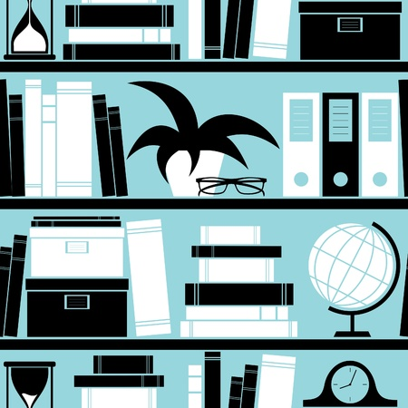 Seamless pattern with different objects placed on a bookshelf, Vector