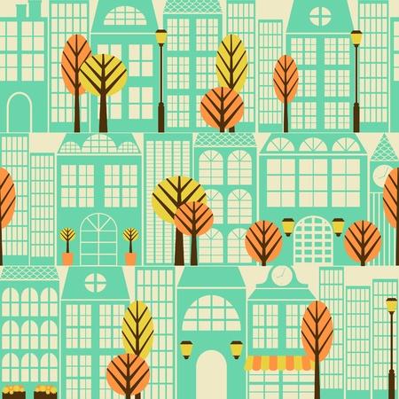 Nahtlose Muster mit Gebäuden und Bäumen.