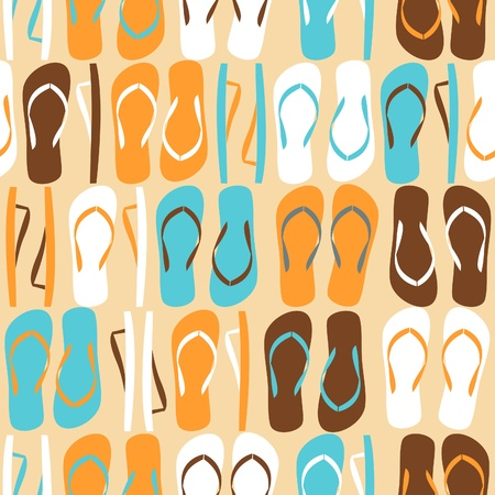 to flop: Seamless pattern with flip-flops in orange, blue, white and brown.