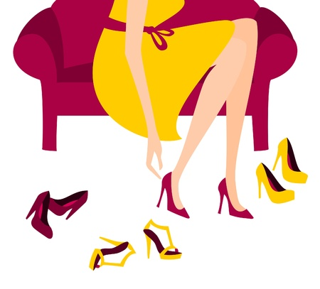 couch: Illustration of a woman trying on elegant high heels.  Illustration